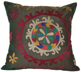 One Kings Lane Vintage Rainbow Wreath Suzani Pillow - Orientalist Home