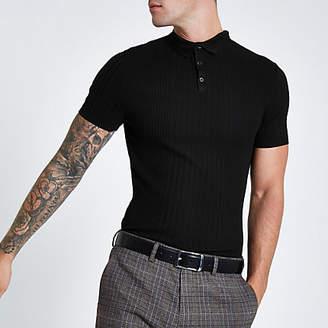 River Island RI Studio black rib muscle fit polo shirt
