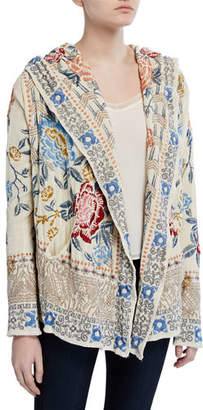 Johnny Was Plus Size Pasca Embroidered Chenille Short Hoodie Jacket