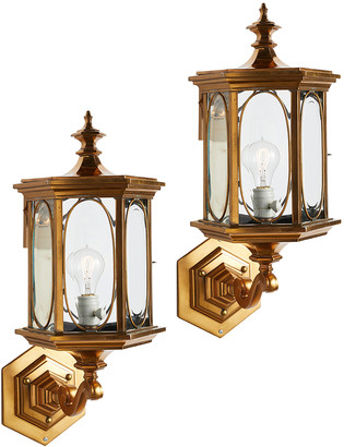 Rejuvenation Pair of Massive Bronze Lanterns w/Beveled Glass