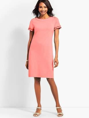 Talbots Ruffle-Sleeve Slub Jersey Shift Dress