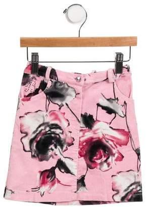 Miss Blumarine Girls' Corduroy Floral Print Skirt