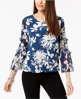 Alfani Ruffled-Sleeve Bubble Top, Created for Macy's