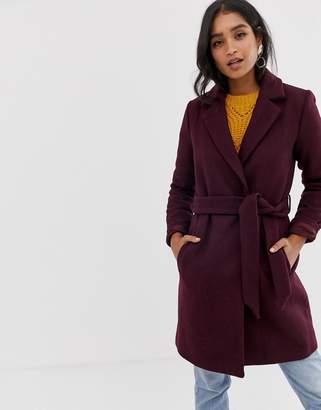 Vila belted slim coat