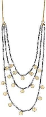 Canvas Womens 5 Row Glass Beaded Bolo Necklace