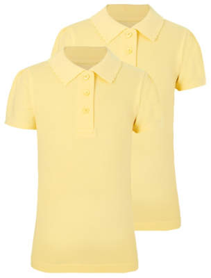 George Girls Yellow Scallop School Polo Shirt 2 Pack