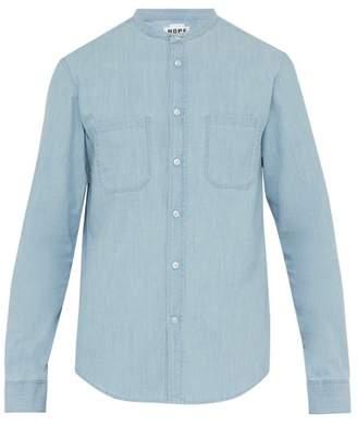 Hope Rick Band Collar Cotton Chambray Shirt - Mens - Blue