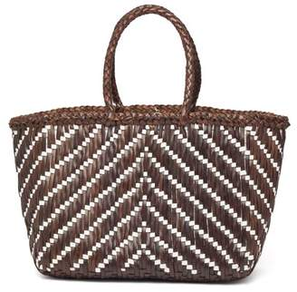 Dragon Optical Diffusion - Kumari Zigzag Woven Leather Basket Bag - Womens - Brown Multi