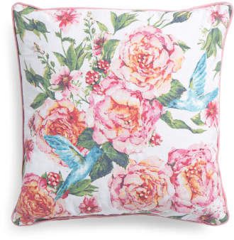 Made In India 20x20 Embroidered Roses And Hummingbird Pillow