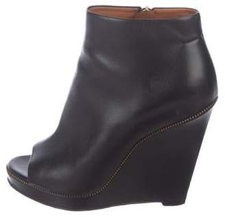 Givenchy Leather Peep-Toe Wedge Booties