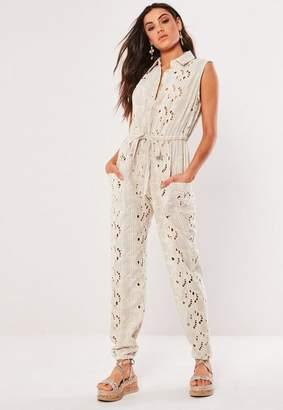 Missguided Cream Broderie Sleeveless Button Front Romper