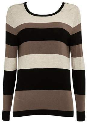 Wallis Petite Mocha Striped Jumper