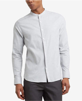 Kenneth Cole Reaction Men's Textured Micro-Check Band-Collar Shirt