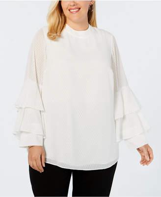 Alfani Plus Size Burnout Mock-Neck Ruffle-Sleeve Top