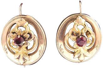 One Kings Lane Vintage Victorian Garnet & Gold Floral Earrings - Owl's Roost Antiques