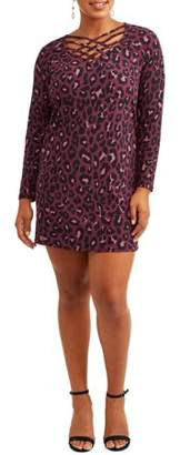Eye Candy Women's Plus Long Sleeve Caged Super Soft Printed Knit Dress