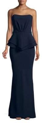 Nicole Bakti Strapless Textured Gown