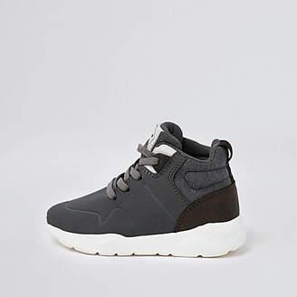 River Island Mini boys grey hi top sneakers