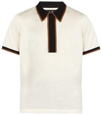 Dunhill Contrast Trim Cotton Polo Shirt - Mens - Ivory Multi