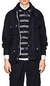 Sacai MEN'S BELTED COTTON-BLEND CANVAS MOTORCYCLE JACKET-NAVY SIZE 4