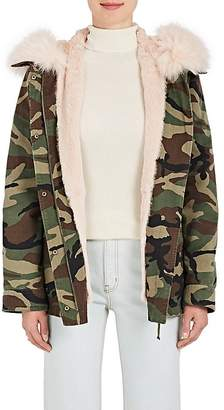 Yves Salomon Army by Women's Fur-Lined Camouflage Cotton Short Parka