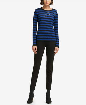 DKNY Embellished Striped Sweater