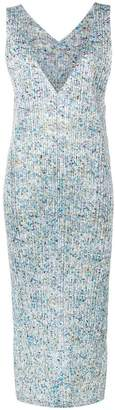 Pleats Please Issey Miyake speckle print V plunge dress