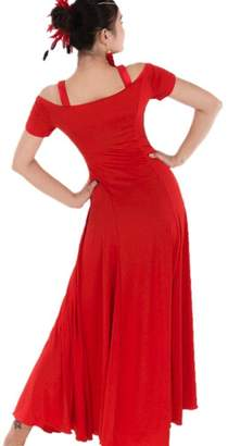 YC WELL Women Modern Waltz Tango Smooth Ballroom Dance Dress Standard Ballroom Dress(,M)