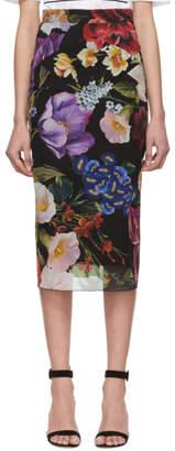 Dolce & Gabbana Black Silk Floral Skirt