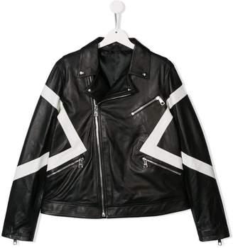 5fb69314284 Neil Barrett Kids TEEN panelled leather jacket