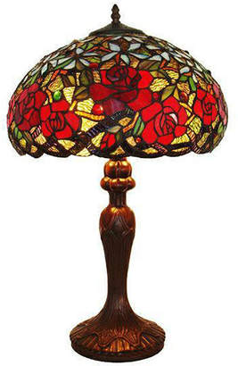 Tiffany & Co. AMORA Amora Lighting AM1535TL16 Style Red RosesTable Lamp 24 In