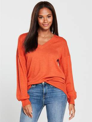 Very V-neck Blouson Sleeve Slouch Jumper - Spicy Orange