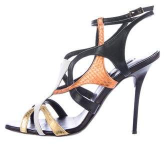 Diego Dolcini Metallic Embossed Sandals