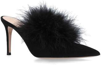 Gianvito Rossi Feather Costance Mules 85