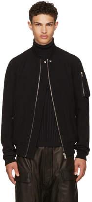 Rick Owens Black Wool Flight Bomber Jacket