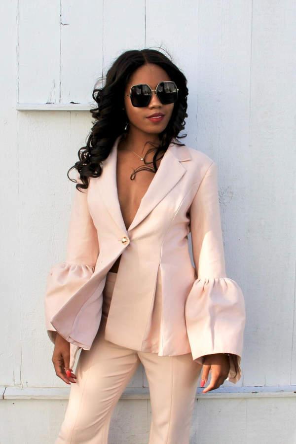 Bell-Sleeve Suit Jacket
