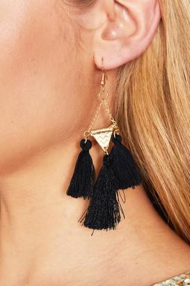 981113db585aec Missy Empire Christina Black Tassel Earrings