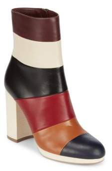 Colorblocked Leather Booties
