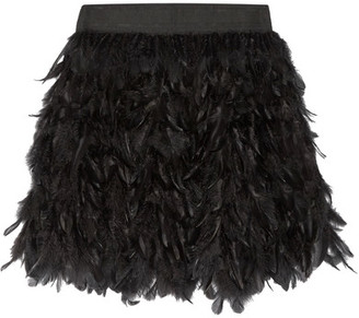 Alice + Olivia - Cina Feather-embellished Tulle Mini Skirt - Black $535 thestylecure.com