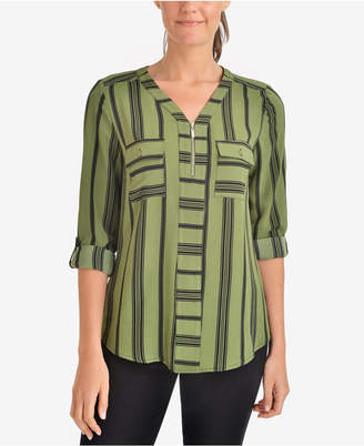 NY Collection Printed Zip-Neck Top