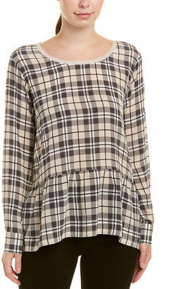 Gold Hawk Plaid Silk Top