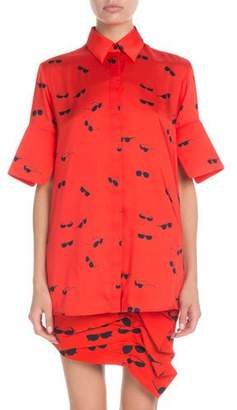 Victoria Beckham Victoria Short-Sleeve Button-Front Sunglasses-Print Shirt