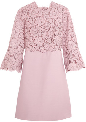 Valentino - Bell-sleeve Corded Lace And Crepe Mini Dress - Antique rose $3,980 thestylecure.com