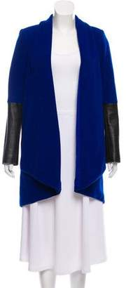 Mason Leather-Trimmed Wool Coat