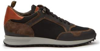 Dunhill Radial Mesh And Bonded Suede Trainers - Mens - Brown