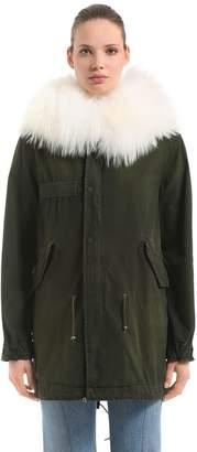 Mr & Mrs Italy Saline Cotton Canvas Parka W/ Fur