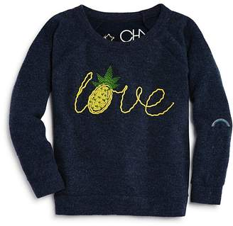 Chaser Girls' Embroidered Pineapple Love Sweater - Big Kid