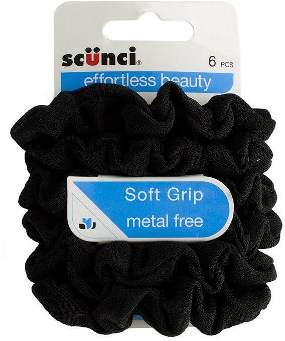 Scunci Black Soft Grip Srunchies - 6 pack