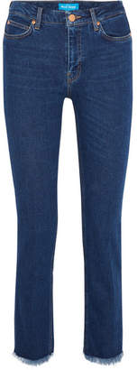 MiH Jeans Daily Frayed Mid-rise Straight-leg Jeans - Dark denim
