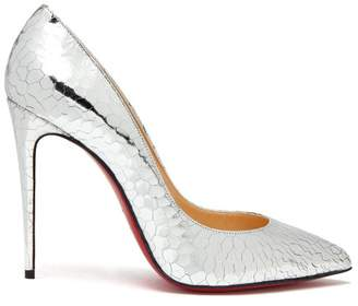 Christian Louboutin Pigalle 100 Metallic Cracked Leather Pumps - Womens - Silver
